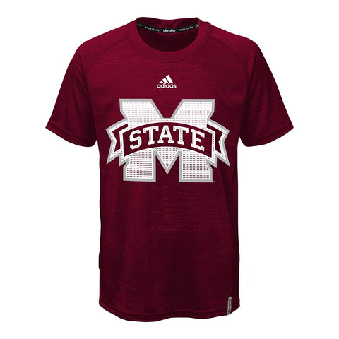 Mississippi State Bulldogs Adidas Youth Maroon Training Crew Climalite T-Shirt