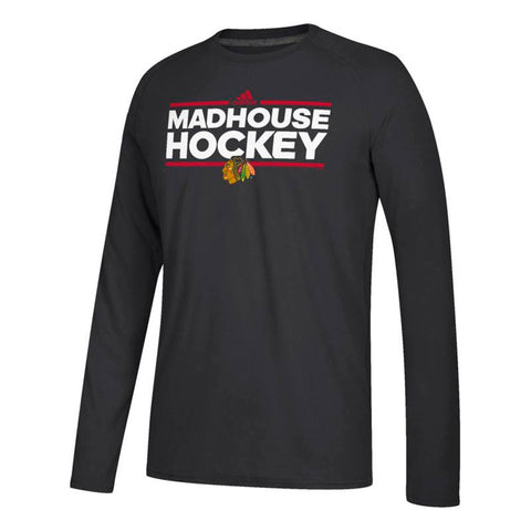 Chicago Blackhawks NHL Adidas Black Dassler Local Climalite Long Sleeve T-Shirt