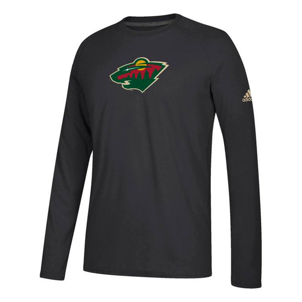 "Minnesota Wild NHL Adidas Black ""Primary Position""  Climalite L/S T-Shirt"