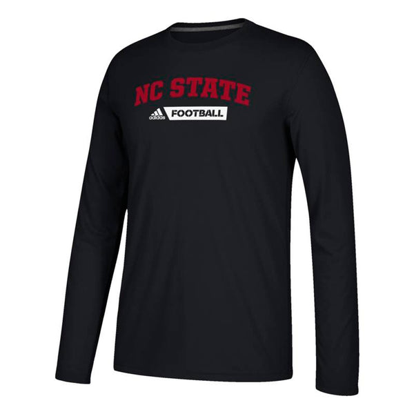NC State Wolfpack NCAA Adidas Black Sideline Gridiron Climalite L/S T-Shirt