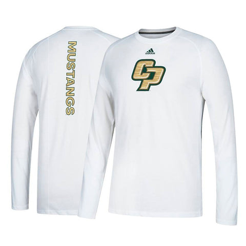 Cal Poly Mustangs NCAA Adidas Men's White Sideline Sequel Climalite T-Shirt