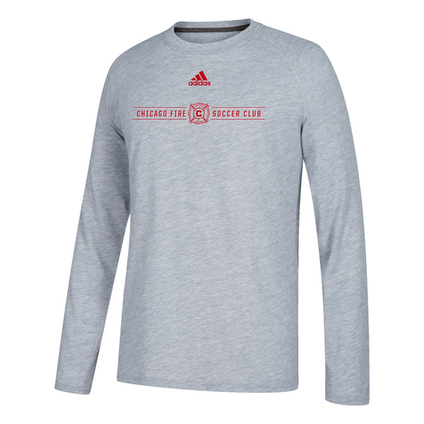 "Chicago Fire MLS Adidas Grey ""Lined Up"" Climalite L/S T-Shirt"