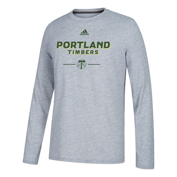 "Portland Timbers MLS Adidas Grey ""Lined Up"" Climalite L/S T-Shirt"