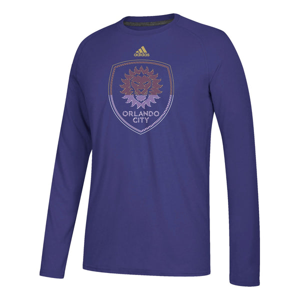 "Orlando City SC MLS Adidas Purple ""Redirection"" Team Logo Climalite L/S T-Shirt"