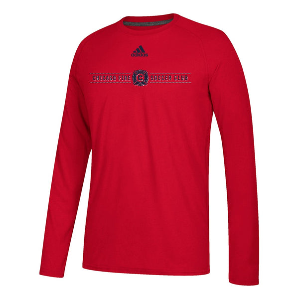 "Chicago Fire MLS Adidas Red ""Lined Up"" Climalite L/S T-Shirt"