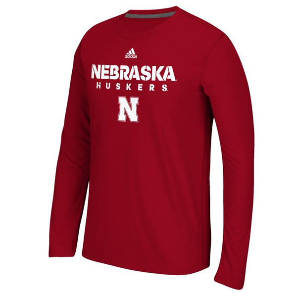 Nebraska Cornhuskers NCAA Adidas Red 2017 Sideline Climalite L/S T-Shirt