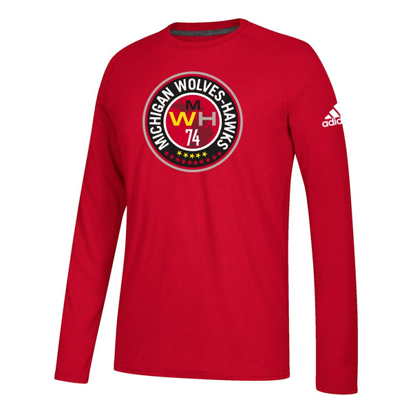 Michigan Wolves Hawks MLS Adidas Red MWH 74 Primary Logo Climalite L/S T-Shirt