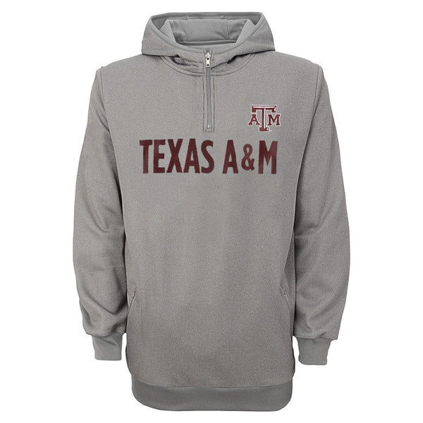 Texas A&M Aggies NCAA 1/4 Zip Hooded Team Logo Grey Track Jacket Youth (S-XL)
