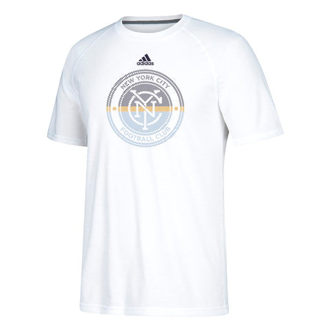 New York City FC MLS Adidas Men's White Redirection Logo Climalite T-Shirt