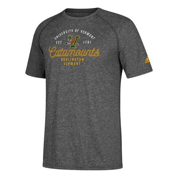 Vermont Catamounts  NCAA Adidas Men's Grey Dapper Climalite Performance T-Shirt