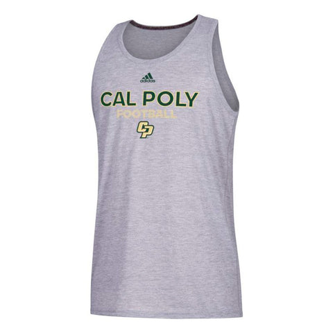Cal Poly Mustangs NCAA Adidas Men's Grey Sideline Rush Football T-Shirt