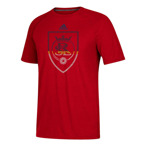 Real Salt Lake MLS Adidas Men's Red Redirection Logo Climalite T-Shirt