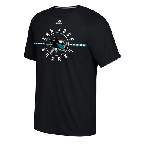 "San Jose Sharks NHL Adidas Men's Black ""Red Line"" Team Graphic T-Shirt"