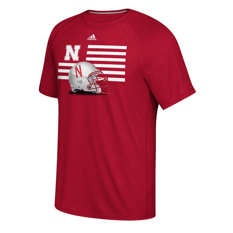 "Nebraska Cornhuskers NCAA Adidas Red ""Prevent Defense"" Football Helmet T-Shirt"
