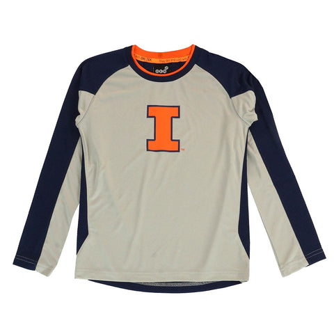"Illinois Fighting Illini NCAA Youth Grey ""Covert"" Long Sleeve Dri-Tek T-Shirt"