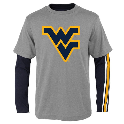 "West Virginia Mountaineers NCAA Youth Black/Grey ""Squad"" LS/SS T-Shirt Set"