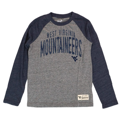 "West Virginia Mountaineers Youth Grey ""Pedigree"" Tri-Blend Long Sleeve T-Shirt"