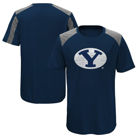 "BYU Cougars NCAA Youth Navy Blue ""Ellipse"" Performance Team Logo T-Shirt"