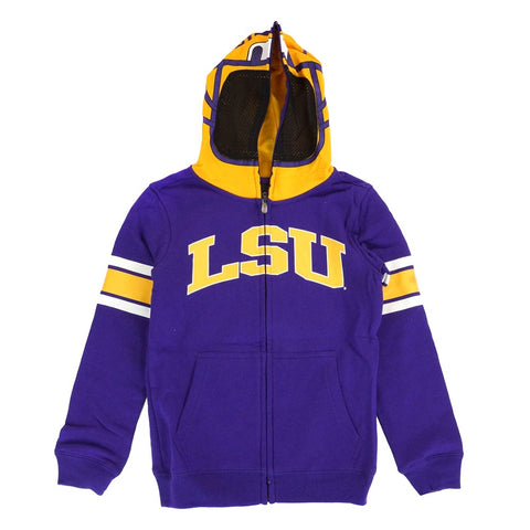 "LSU Tigers NCAA Purple ""Helmet"" Team Full Zip Hoodie Jacket Youth"