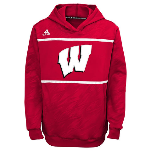 "Wisconsin Badgers Adidas ""Amped"" Performance Pullover Player Hoodie Youth (S-XL)"