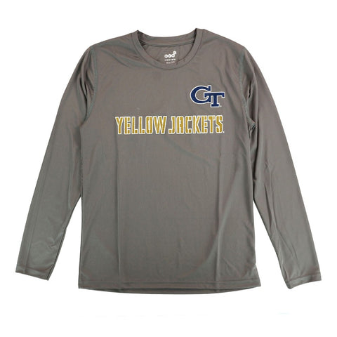 "GA Tech Yellow Jackets NCAA Youth Grey ""Covert Ops"" LS Climalite Shirt"