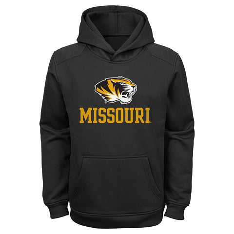 Missouri Tigers NCAA Team Logo Black Performance Pullover Hoodie Youth (S-XL)