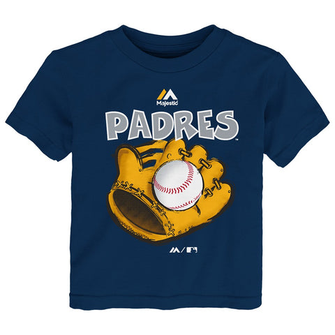 "San Diego Padres Majestic MLB Toddler Navy Blue ""Boy Baseball Mitt"" T-Shirt"