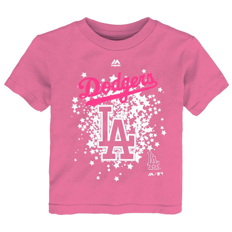 Los Angeles Dodgers MLB Majestic Toddler Pink Team Logo Stars T-Shirt