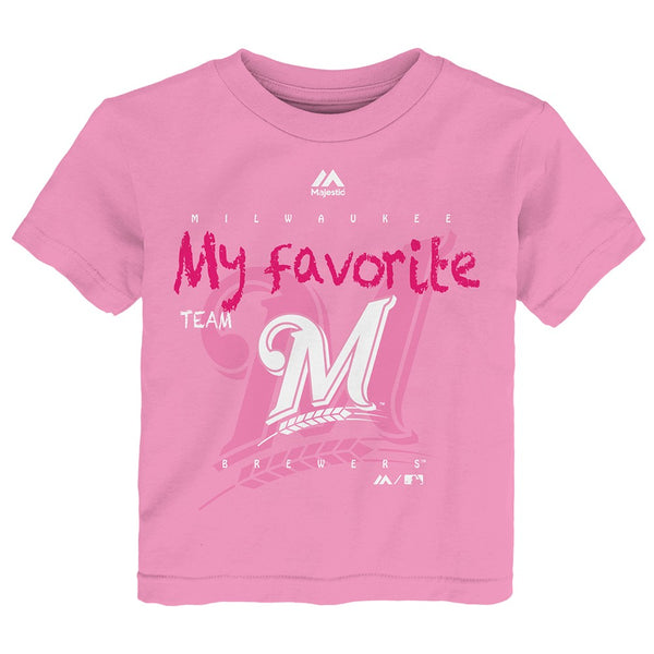 "Milwaukee Brewers Majestic MLB Toddler Pink ""My Favorite Team"" Graphic T-Shirt"