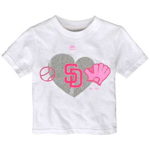 "San Diego Padres Majestic MLB Toddler White ""Just Love"" Graphic T-Shirt"