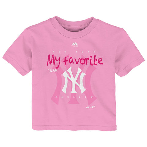 "New York Yankees Majestic MLB Toddler Pink ""My Favorite Team"" Graphic T-Shirt"
