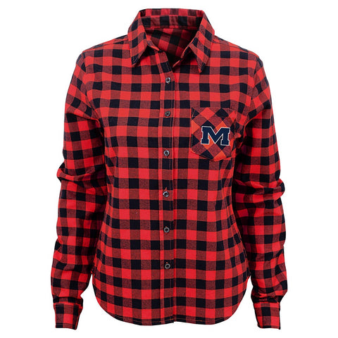 "Ole Miss Rebels NCAA Girls Red ""Buffalo Plaid"" Flannel Long Sleeve T-Shirt"