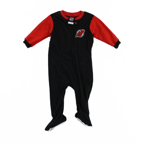 New Jersey Devils NHL Team Color Blocked Full Zip Blanket Sleeper Infant Newborn