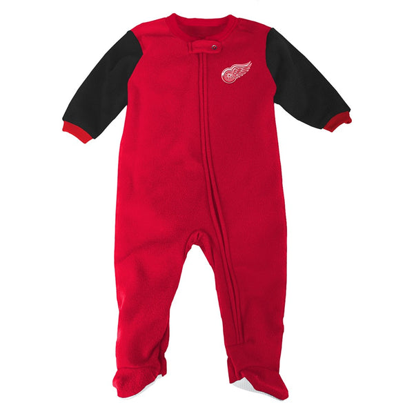 Detroit Red Wings NHL Full Zip Front Team Color Blanket Sleeper Coverall Infant