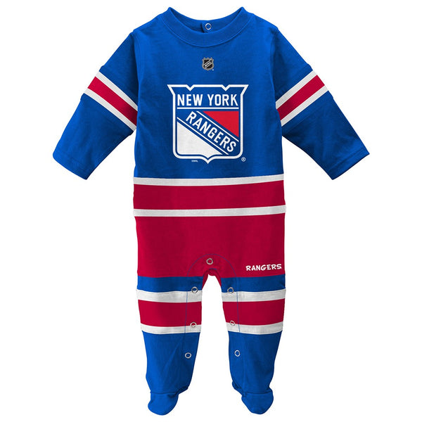 New York Rangers NHL Newborn Blue Long Sleeve Jersey Style Coverall