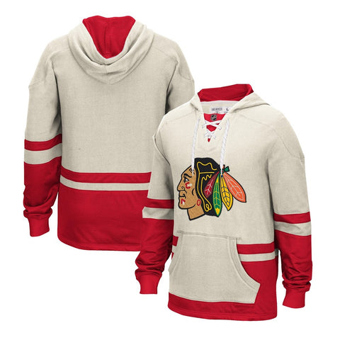 "Chicago Blackhawks CCM ""Hit the Board"" Retro Jersey Pullover Team Hoodie Men's"