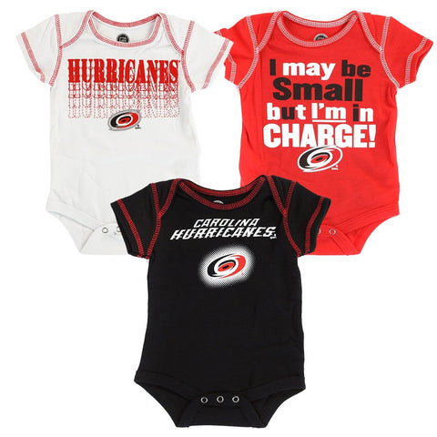 Carolina Hurricanes  Infant Black/Red/White 3 Piece Creeper Set