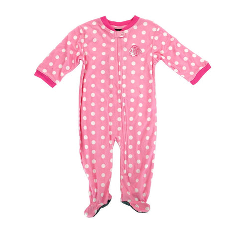 Chicago Blackhawks Full Zip Front Polka Dot Pink Girls Infant Blanket Sleeper