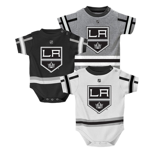 Los Angeles Kings NHL Infant Black/Grey/White Hockey Jersey 3 Piece Creeper Set