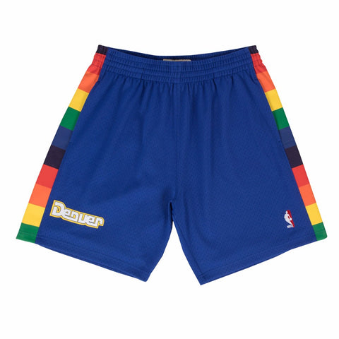 1991-92 Denver Nuggets Mitchell & Ness Road Blue Throwback Swingman Shorts Men's