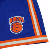 1991-92 New York Knicks Mitchell & Ness Road Blue Throwback Swingman Shorts Men