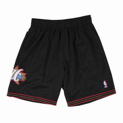 2000-01 Philadelphia 76ers Mitchell & Ness Road Black Throwback Swingman Shorts