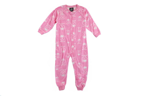 Buffalo Sabres NHL Pink Girls All Over Print Full Zip Raglan Coverall Toddler