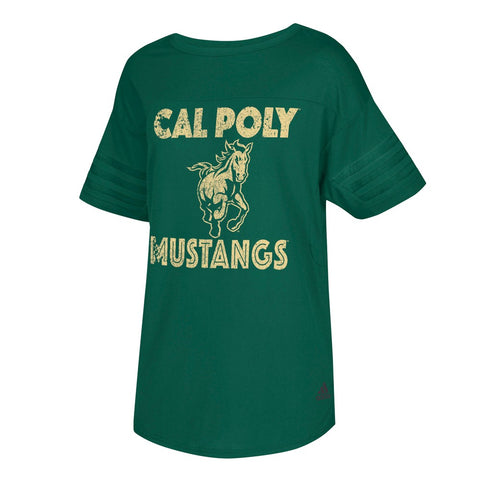 "Cal Poly Mustangs NCAA Women's ""Mascot Mix"" Dark Green Droptail Tunic T-Shirt"