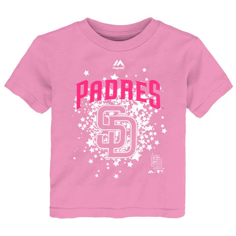 San Diego Padres MLB Majestic Little Girls Pink Team Logo Stars T-Shirt