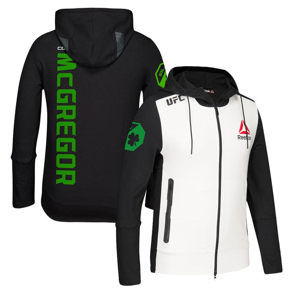 Conor McGregor Reebok UFC (Black/White/Green) Fight Kit Walkout Hoodie Men's