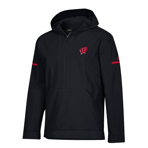 Wisconsin Badgers Adidas Men's 2018 Sideline Black Squad Woven Anorak Jacket