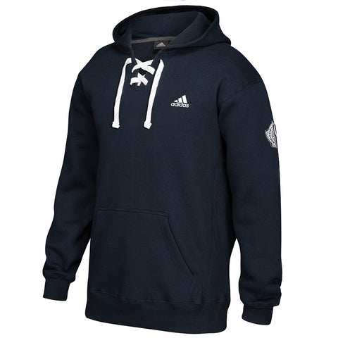 Adidas Men's Black Badge Of Sport Logo Lace-Up Pullover Hoodie