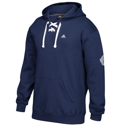 Adidas Men's Navy Blue Badge Of Sport Logo Lace-Up Pullover Hoodie