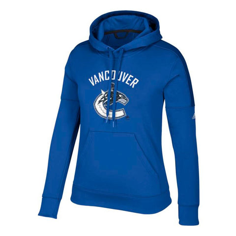 "Vancouver Canucks NHL Adidas Women's ""Logo Shine"" Blue Hoodie"